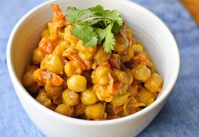 Receta india de garbanzos al curry