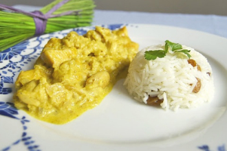 Arroz basmati con curry